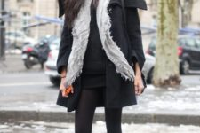 With mini dress, black coat and gray scarf