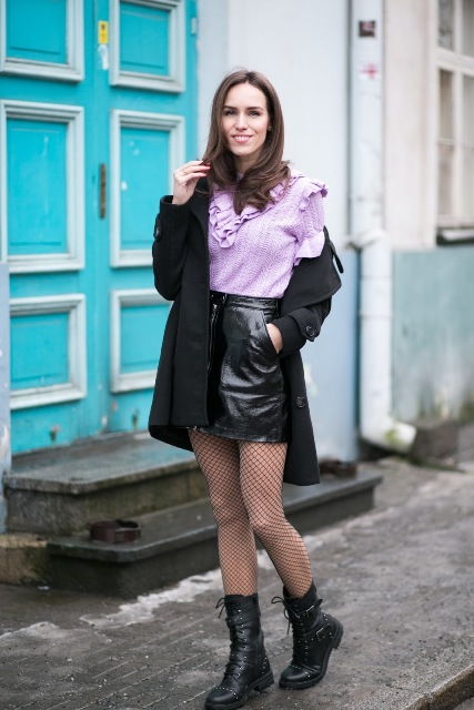 With pastel color ruffle blouse, black mini coat and mid calf boots