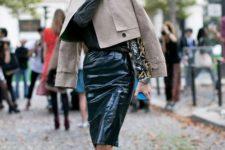 With printed blouse, crop jacket and black heels