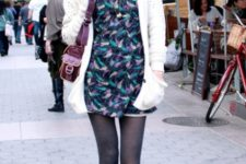 With printed dress, white cardigan and bag