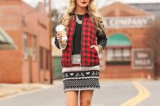 With printed mini dress and red high boots