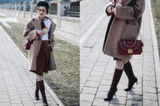 With printed t-shirt, knee-length skirt, high boots, marsala bag and tweed coat