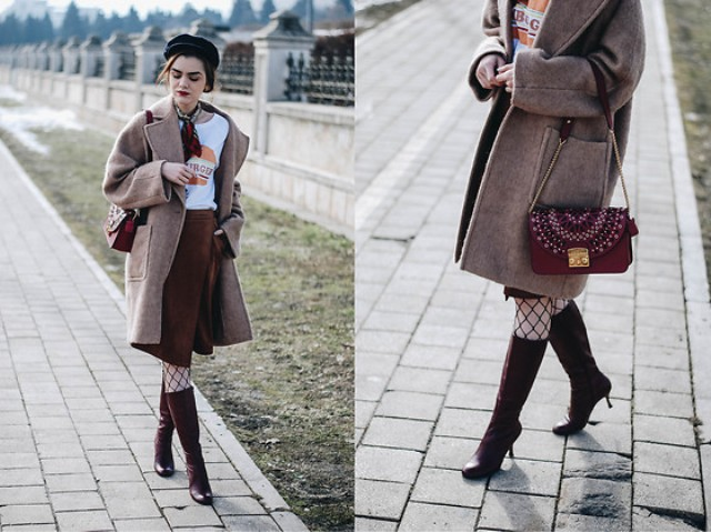With printed t-shirt, knee-length skirt, high boots, marsala bag and tweed coat