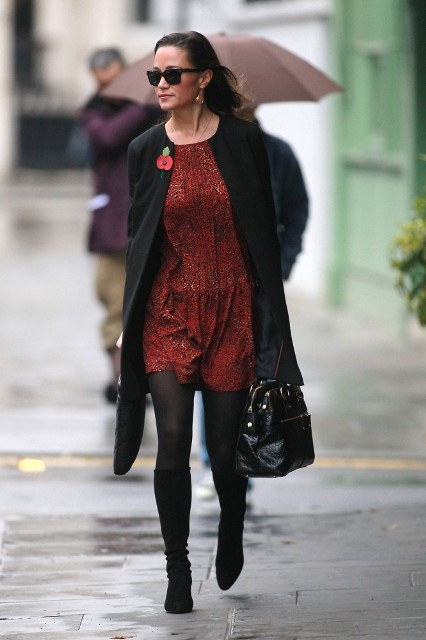 With red dress, black tights, black high boots and bag