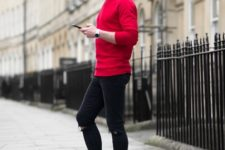 With red shirt, skinny pants and white sneakers