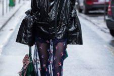 With sheer skirt, heeled boots and bag