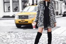 With striped dress, black scarf and black over the knee boots