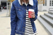 winter look with denim shorts