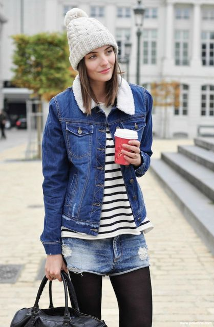 Picture Of winter look with denim shorts