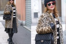 With striped shirt, midi skirt, high boots, black bag and beanie