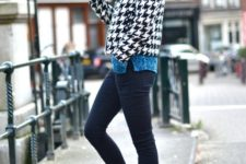 With sweater, printed jacket, beanie and skinny pants