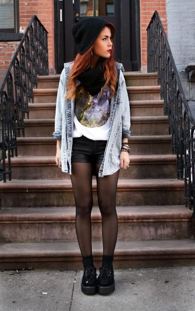 With t shirt, denim jacket, black beanie and platform boots