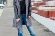 With t-shirt, jeans, leather sleeve printed coat and beige boots