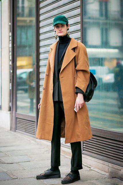 With turtleneck, jacket, camel coat, straight pants, flat shoes and backpack
