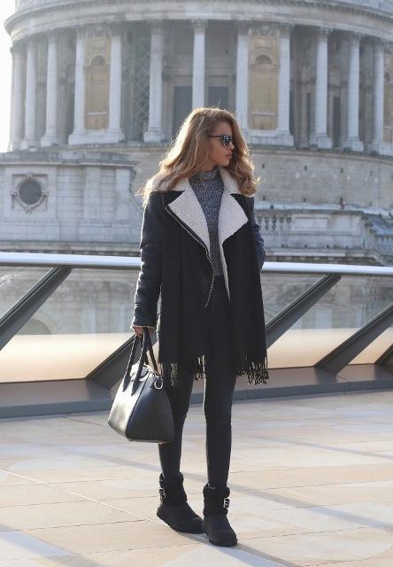 With turtleneck, skinny pants, shearling jacket, fringe scarf and bag