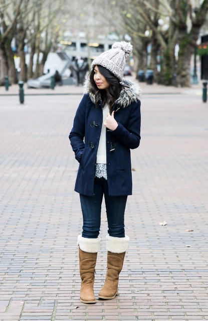 With white blouse, jeans, navy blue parka coat and gray beanie