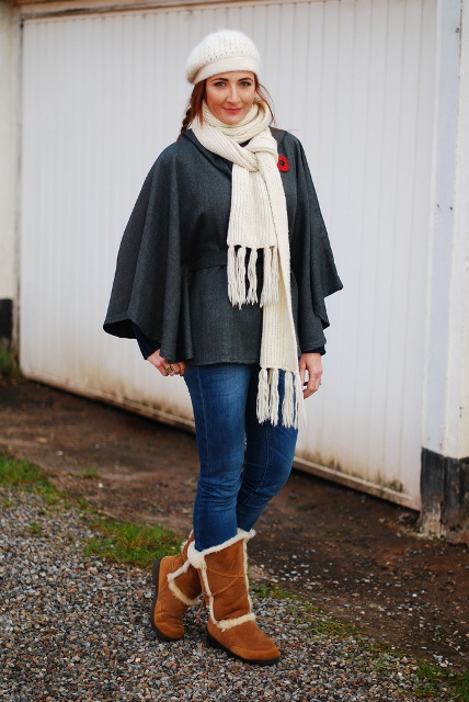 With white scarf, hat, jeans and brown boots
