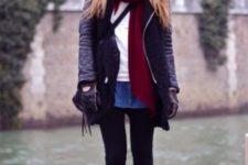 With white shirt, denim mini skirt, marsala scarf, black jacket and black tights