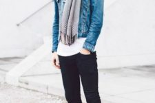 With white t-shirt, denim jacket, skinny pants and scarf