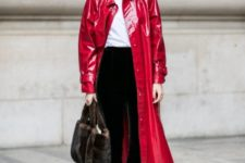 With white t-shirt, velvet trousers, leather shoes and bag
