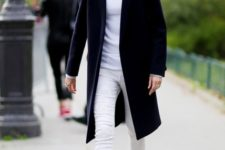 With white t-shirt, white pants and knee-length coat