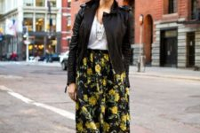 With white top, black leather jacket and floral midi skirt