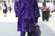 02 a bold ultraviolet fur coat, pants, boots and a pink beanie for a colorful winter look