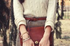 02 a cashmere cable knit sweater, a tweed mini skirt, a brown leather belt and a matching bag