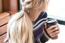 02 a low braided ponytail is a chic idea for sweater weather and can be worn anytime