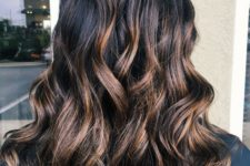 02 black hair with chic brown and chestnut balayage for a softer look