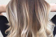02 brown medium length hair with blonde balayage to make a statement