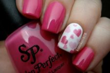 02 pink nails and an accent nail with pink hearts of different sizes
