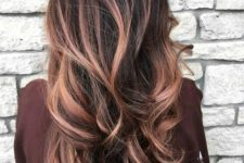 03 a black root with rose gold balayage looks softer and more refined