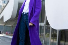 03 a modern ultraviolet coat, jeans, a white tee for a bold modern look