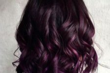 03 a short wavy bob of a deep chestnut shade and purple balayage for refreshign highlights
