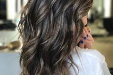 03 dark brunette hair with bronde highlights for a textural and dimensional look