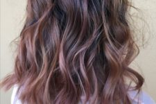 04 a dark root with rose gold balayage for an interesting look