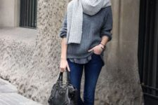 04 a grey tee, a grey cashmere sweater, a dove grey scarf, jeans and flats for a casual look