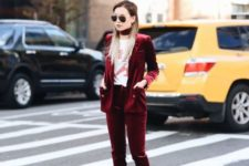 04 a marsala velvet pantsuit with a matching choker, a printed tee and white sneakers