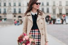 04 a plaid skirt, a black sweater, a shirt with a peter pan collar, a red vintag ebag and a neutral coat