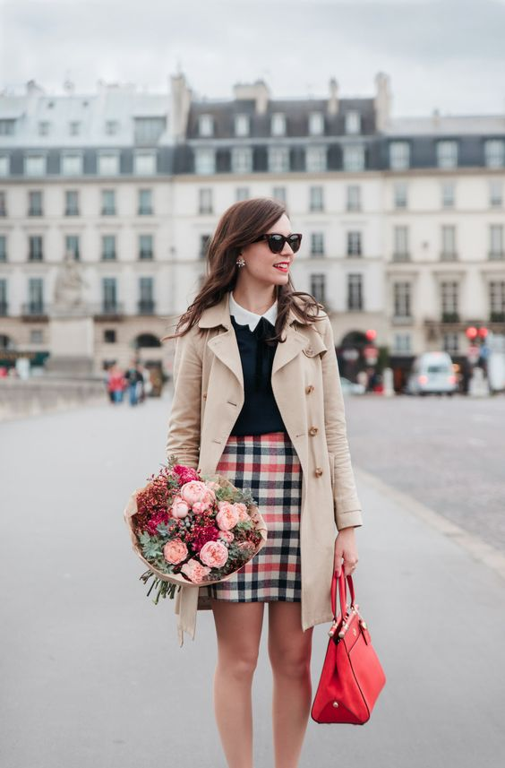 a plaid skirt, a black sweater, a shirt with a peter pan collar, a red vintag ebag and a neutral coat