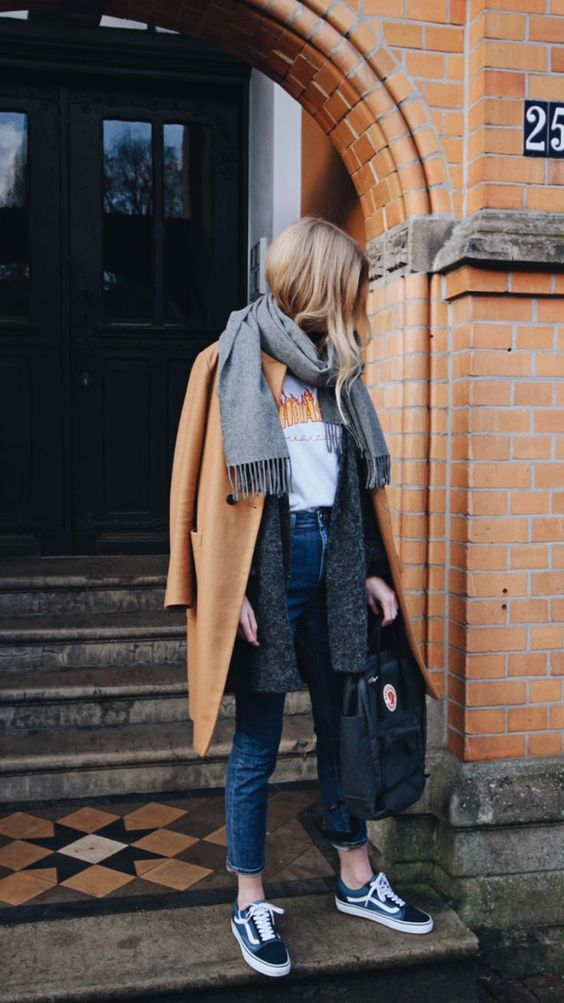 blue cropped jeans, Vans sneakers, a printed tee, a grey cardigan, a grey scarf and a camel coat
