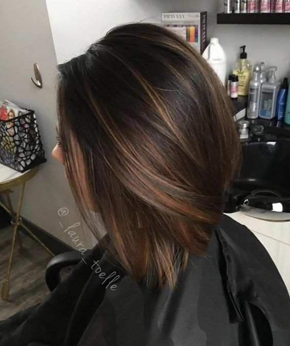 chocolate brown straight bob with light caramel balayage to give it a dimension