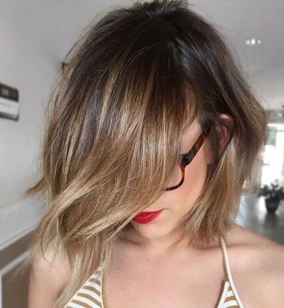Picture Of Choppy Bob Haircut With Brunette Balayage Looks Cute And Chic
