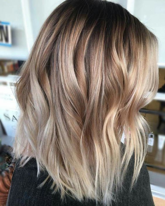 Picture Of Elegant Blonde And Caramel Balayage In Dark