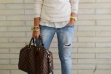 04 ripped jeans, a casual shirt, a neutral sweater, blush booties