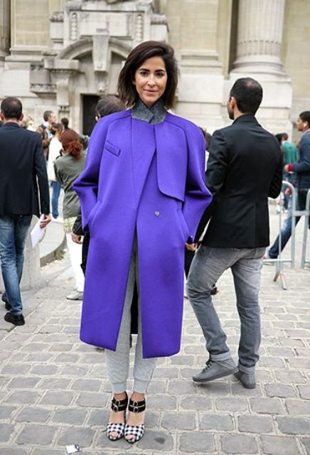 ultraviolet modern coat is a chic and trendy idea to wear this winter
