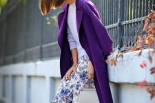 05 an ultraviolet coat, blue boots, a floral skirt, a lavender sweater and a blue hat for a bold look