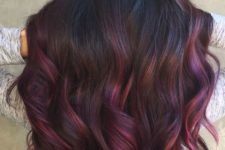 05 black hair with purple and fuchsia balayage will help you stand out