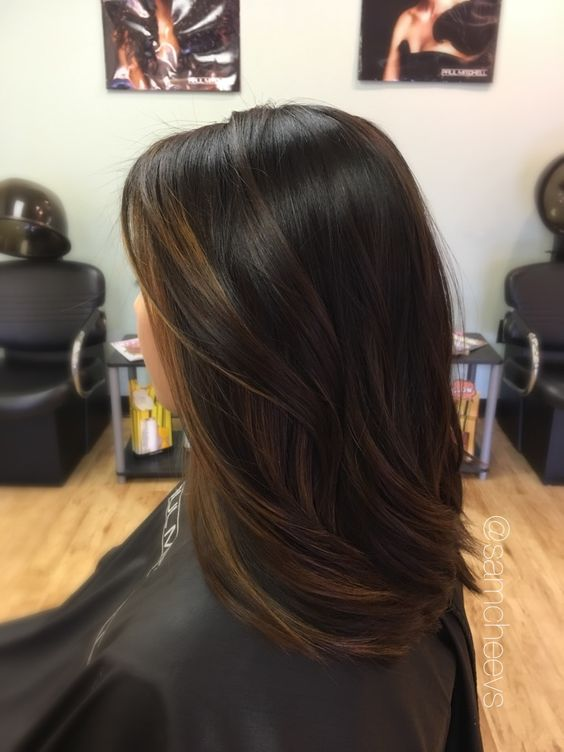 black hair with subtle brown balayage is a chic idea to add dimension